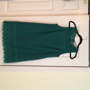 Green lined lace dress